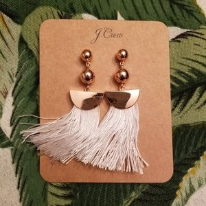 J Crew White Tassel Earrings